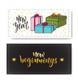 set of hand drawn new year banners handwritten vector image