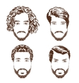 Set of men s hairstyles beards and mustache Hand vector image vector image