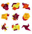 set of nine colorful back to school badges vector image