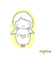 Sketch with cute angel vector image vector image