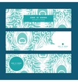 soft peacock feathers horizontal banners set vector image vector image