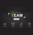 team icons with world black map for business vector image