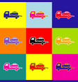 tow car evacuation sign pop-art style vector image vector image