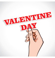 Valentine day word in hand vector image vector image