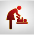 women and baby symbol baby changing red vector image vector image