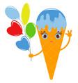 orange cartoon waffle cone ice cream vector image