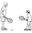 an elderly man playing tennis with his grandson vector image vector image