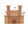 ancient castle with red flags medieval vector image vector image