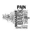 back massager text word cloud concept vector image vector image