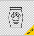 black line bag food for dog icon isolated on vector image vector image
