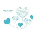 blue line art flowers heart symbol frame vector image