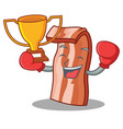 boxing winner bacon mascot cartoon style vector image vector image