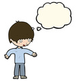 cartoon confused boy with thought bubble vector image vector image