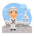 cartoon sailor and aircraft carrier vector image