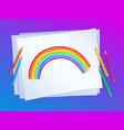 child drawing rainbow arc vector image