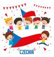 children holding czechia flag vector image