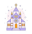 christian chapel or church icon in line vector image