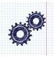 cogwheel icon Epshand drawn0 vector image vector image