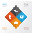 construction icons set collection of cement vector image vector image