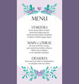 cute wedding card menu template with hand-drawn vector image vector image