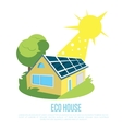 Eco house with blue solar panels on the roof vector image vector image