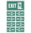 exit door sign set emergency fire exit label vector image vector image