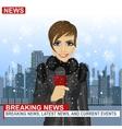 Female journalist working in winter vector image vector image