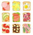 flat set of sandwiches with different vector image vector image