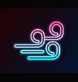 glowing neon line windy weather icon isolated on vector image vector image