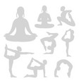 grey pilates yoga fitness silhouettes set vector image
