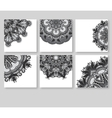 grey set of decorative floral greeting cards in vector image