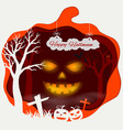 happy halloween with scary pumpkins on paper art vector image