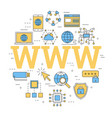 linear concept of internet with letters www vector image vector image