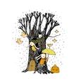 Magic Tree rabbits and birds vector image vector image