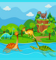 many dinosaurs in the lake vector image vector image