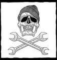 mechanic skull poster vector image vector image