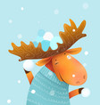 moose character throwing snowballs in sweater vector image
