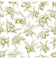 olives branches on olive seamless pattern vector image vector image