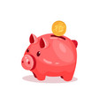 pink piggy bank with 10 cent small ceramic money vector image