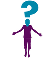 question mark and silhouette of boy vector image
