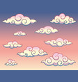 rainbow swirl curly style clouds in the sky vector image