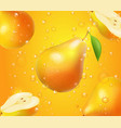 realistic pear fruit in juice design advertising vector image