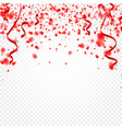 red confetti serpentine or ribbons falling on vector image vector image