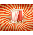Retro background with Popcorn and a drink vector image