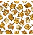 Retro seamless cute owls birds pattern background vector image vector image