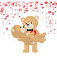 romantic male bear holding female animal on arms vector image vector image
