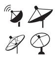 set of silhouette satellite dish icon vector image