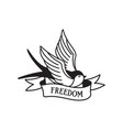 swallow tattoo with wording freedom traditional vector image vector image