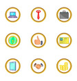 time management icons set cartoon style vector image vector image