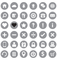 web icon set on gray circle vector image vector image